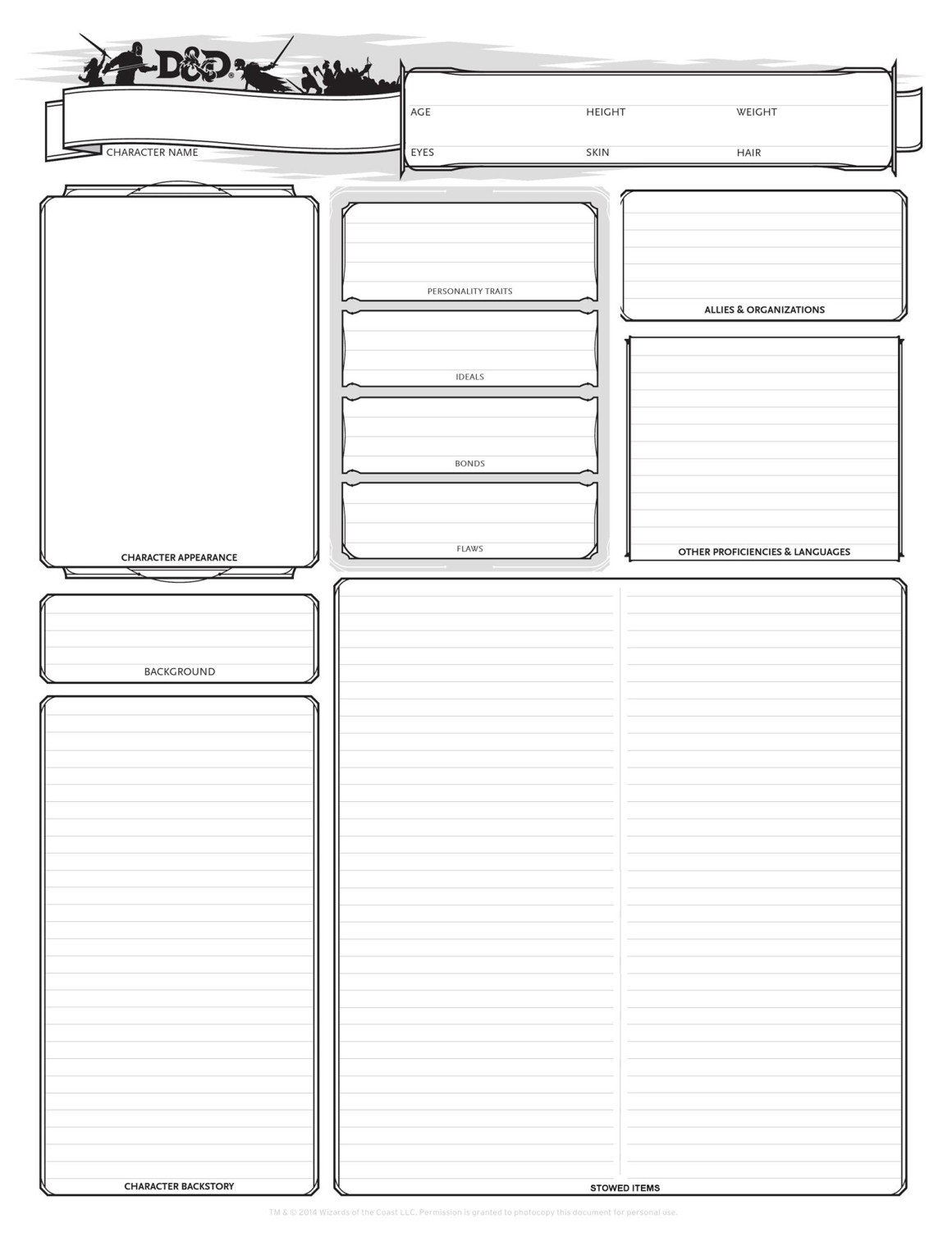 This is an image of Lively Printable D&d 5e Character Sheet