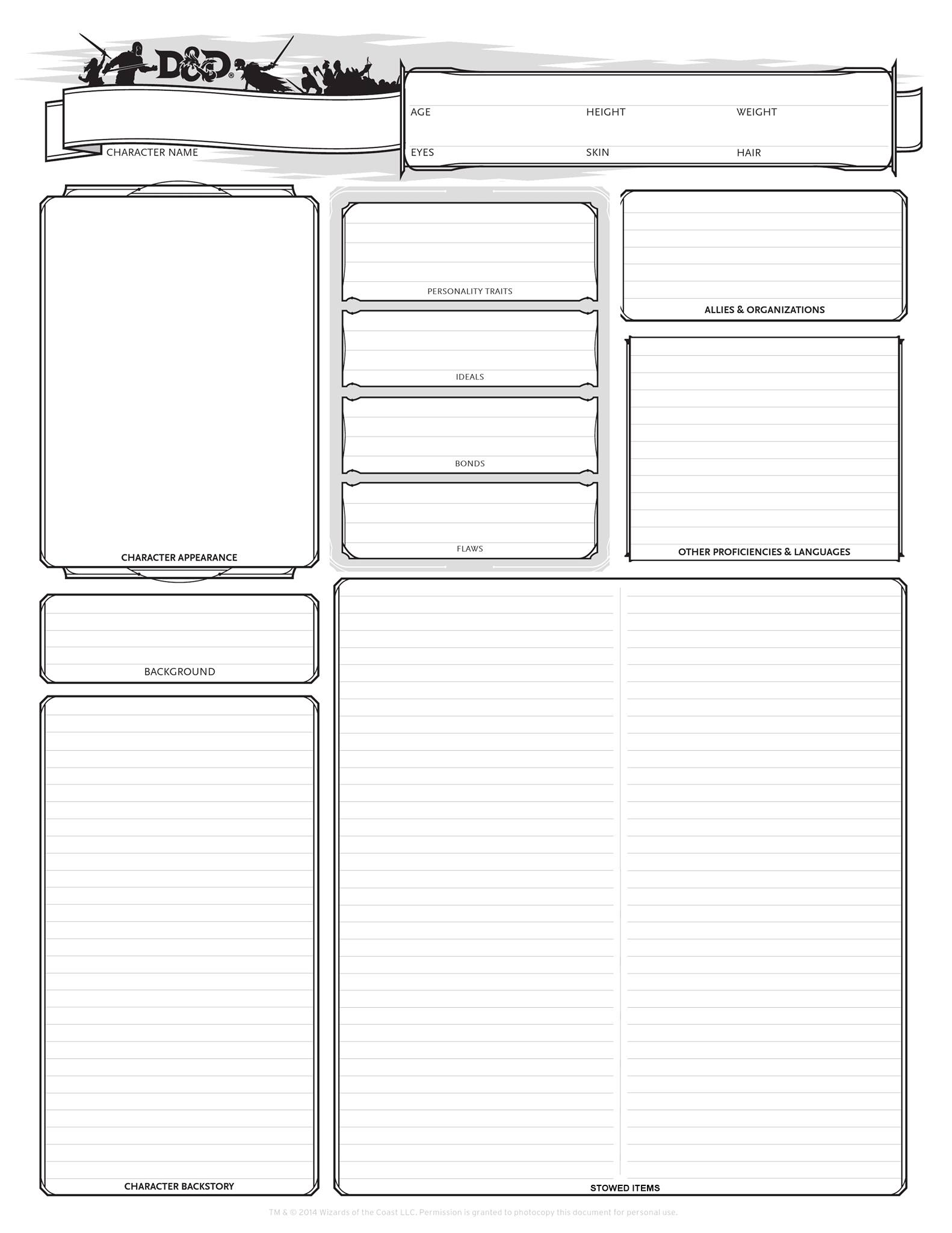 photo about Printable Dungeons and Dragons Character Sheet named DD 5e Substitute Individuality Sheets