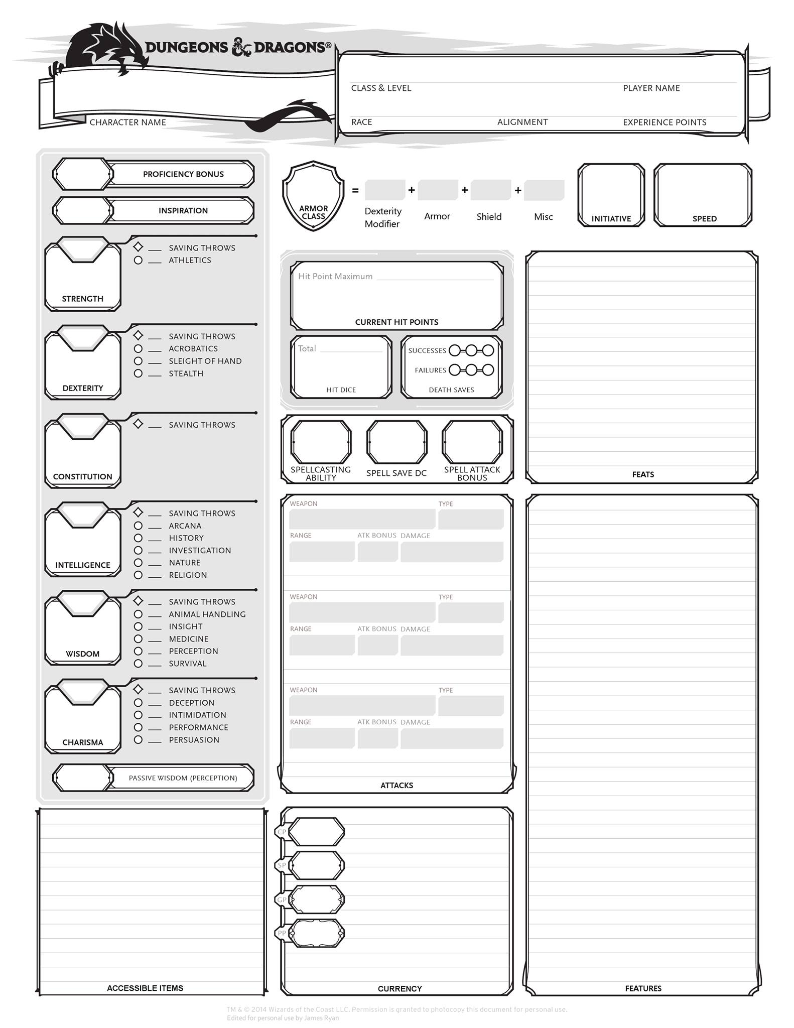 D&D 5e Alternate Character Sheets |